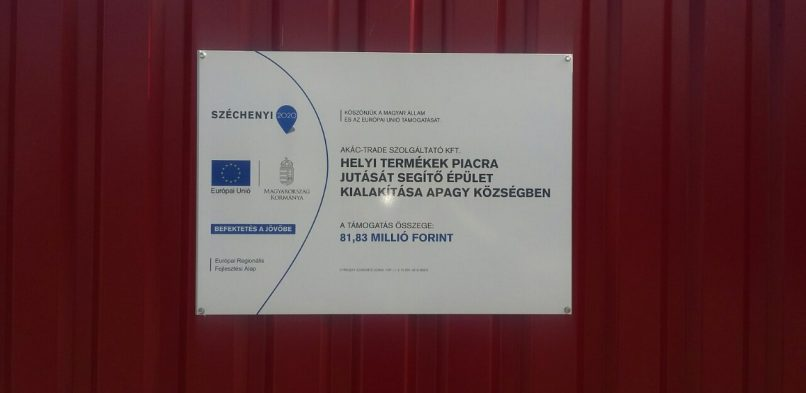 Helyi termékek piacra jutását segítő épület kialakítása Apagy községben  TOP-1.1.3-15-SB1-2016-00002